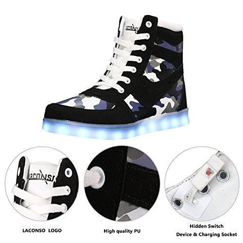 Damen LED High Tops Turnschuhe 7 Farben 16 Farben Leuchten Schuhe Durable Lights USB Aufladen Tarnung Tanzen Walking Schuhe Fernbedienung