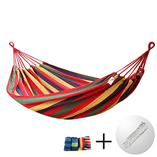 LIUSIYU Hamac Camping en Plein air Capacité de Charge jusqu'à 150kg Portable Double Garden Beach Travel Toile 200 x 150 cm,Red