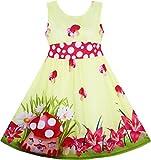 Mädchen Kleid Pilz Blume Gras Drucken Polka Punkt Gürtel Gelb Gr.134