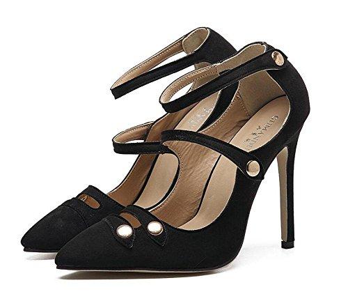 SHINIK Damen-Knöchel-Bügel-Pumpe-reizend Damen-Sandelholze Elegante Göttin mit Nieten Hohle flache Mund-Temperament-wilde spitze High-Heel Schuhe Black BnGXRdapFm