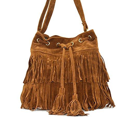 LAHAUTE Damen Quaste Handtasche vintage Fashion Schultertasche braun