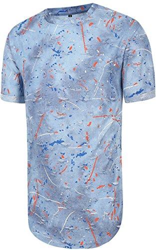 Pizoff Unisex Hip Hop Design langes T Shirts im Distressed-Look Y1727-25