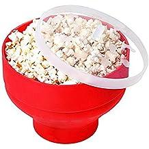 Yangyme Popcorn Popper,Cuenco Plegable de Silicona, con Tapa Recipiente para Hacer Palomitas de