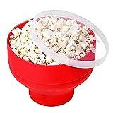 Zensinc Popper de Pop-Corn à Micro-Ondes Pliable Bol en Silicone avec Couvercle sans BPA, à Air Chaud à Popcorn Bol - Rouge
