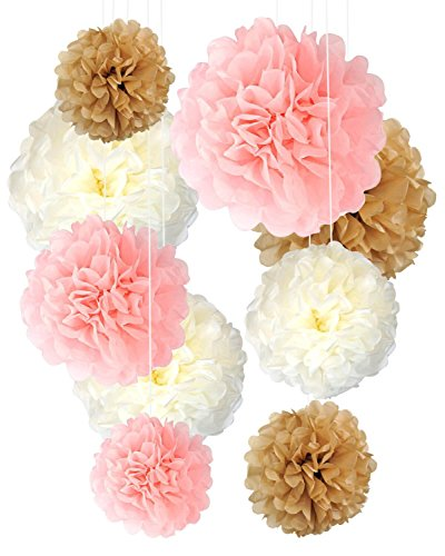 9 Stück Pink Creme Braun Party Deko Papier Pompons Girlande Hochzeit Tafelaufsatz Baby Shower 1. Geburtstag Kinderzimmer Hängedeko (Creme Tafelaufsatz)