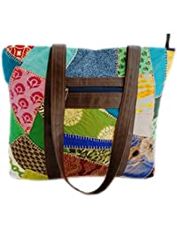 Literacy India Indha Large Tote Bag For Women In Assorted Cotton Patchwork
