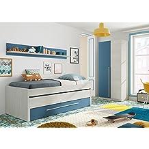 Pack habitación Juvenil con Cama Nido Estante de Pared, Armario y SOMIERES INCLUIDOS Color Blanco