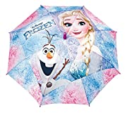 P:OS Frozen Stock-Regenschirm Frozen Motiv 100% Polyester 84cm Durchmesser im geöffneten Zustand von Spitze zu Spitze windfest manuelle Öffnung Sicherheitsöffner mit Klemmschutz inkl. flex...