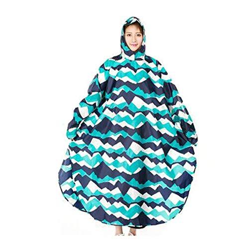 Jiansheng Regenmantel, Poncho Erwachsener im Freien Reiten Regenmantel, Elektrofahrrad Single Lady Erwachsener Regenmantel zu Fuß Poncho, Gelb, Blau, Berg XL (Color : Mountain Peak, Size : XL) - Mantel Frauen Peak