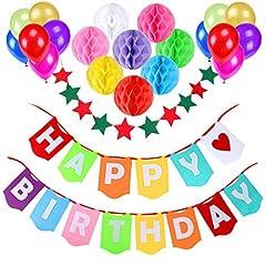 Idea Regalo - Decorazione Festa di Compleanno, Gyvazla Striscioni di Buon Compleanno Happy Birthday, 12 Colorato Party Palloncini, 8 Pacchetti da nido d'ape, 1 Decorazione stella per decorare di Party