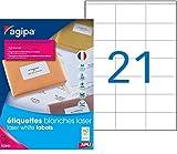 Agipa 119063 Boîte de 2100 étiquettes adresse laser blanches 70x42mm