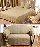 Homescapes waschbare Tagesdecke Sofaüberwurf XXL Überwurfdecke Rajput 255 x 360 cm in Ripp-Optik Bettüberwurf aus 100% reiner Baumwolle in beige