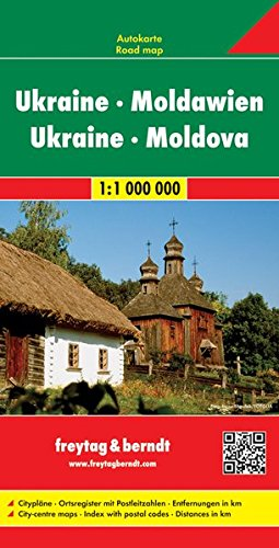 Ucrania-Moldavia, mapa de carreteras. Escala 1:1.000.000. Freytag & Berndt.: Citypläne. Ortsregister mit Postleitzahlen… 2
