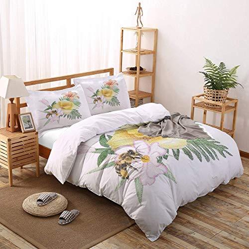 Soefipok 4er Set Bettbezüge Bee and Flower Leichte, Pflegeleichte Bettwäsche für Herren, Damen, Jungen und Mädchen, Twin Size