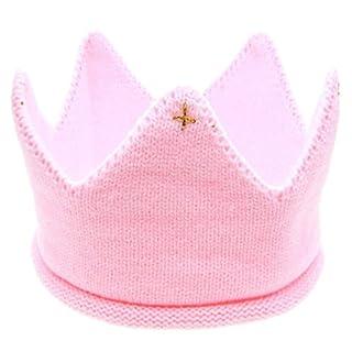 ALCYONEUS Neugeborenen Baby Unisex Sweet Soft Strick Krone Mütze Cap Kopfbedeckungen (Pink)