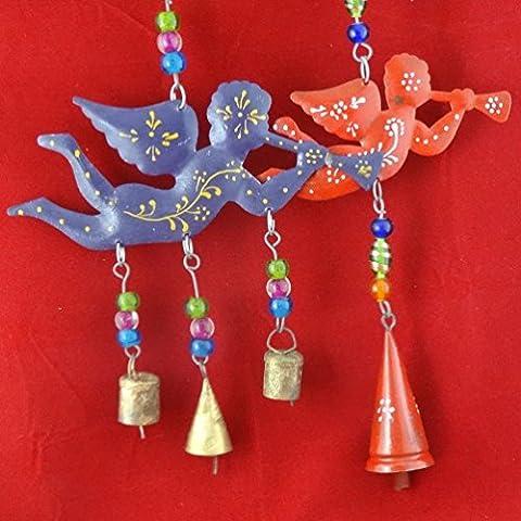 pared cuelgan conjunto decoración del hogar adorno del árbol de 2 piezas ángeles campanas de material pintado campanas baile de regalo decorativo mano