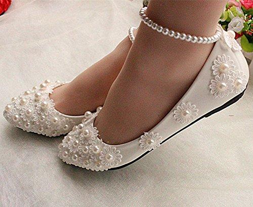 JINGXINSTORE Weiße Spitze Hochzeit Schuhe Perlen Knöchel Trap Bridals Hochzeitsfeier Pumps, UK 6,5,