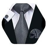 Barry.Wang - Juego de gemelos cuadrados de tela de seda para cuello, diseño de corbata