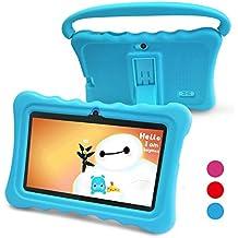 Tablet para Niños Pad para Niños - 7 pulgadas Tablet para niños con sistema operativo Google Android 6.0 y Caso de Silicon,aplicaciones iWavaHome y AR Zoo ya instaladas,Pantalla IPS,ROM de 8(azul)