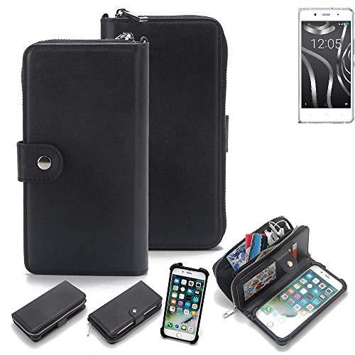 K-S-Trade 2in1 Handyhülle für BQ Readers Aquaris X5 Plus Schutzhülle & Portemonnee Schutzhülle Tasche Handytasche Case Etui Geldbörse Wallet Bookstyle Hülle schwarz (1x)
