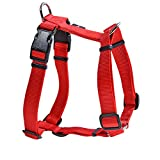 HUFT Dog Harness for Small Medium Large Dogs & Puppies - Hamilton Plain Nylon Double H-harness - Red- Small