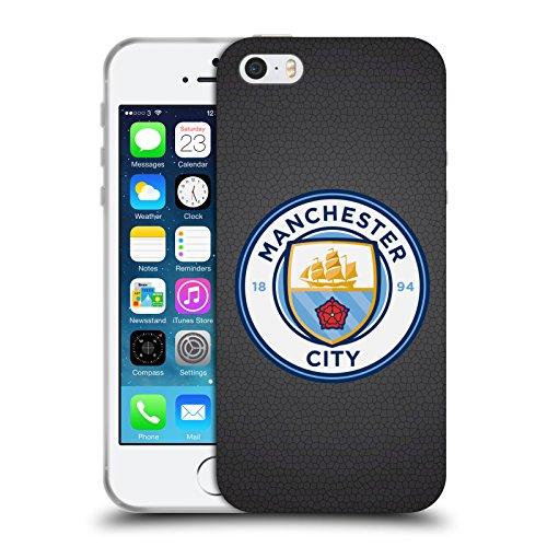 Official Manchester City Man City FC Black Mosaic Full Colour Badge Pixels Soft Gel Case for Apple iPhone 5 / 5s / SE