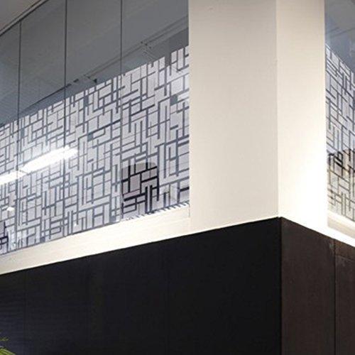 Solar Screen Milchglasfolie Designfolie Sichtschutzfolie DECORUM 152cm Breite Laufmeterware Fensterfolie Selbstklebend Folie Dekofolie Streifen Quadrate Muster Milchglas