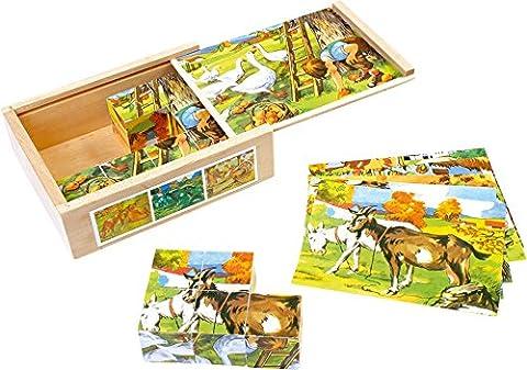 Legler - 2019636 - Puzzle En Bois - Cubes - Campagne