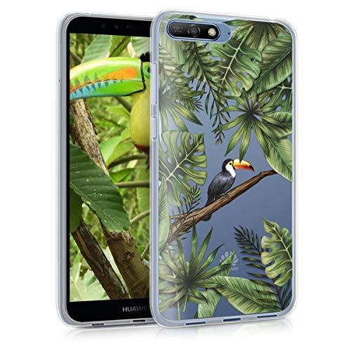 kwmobile Huawei Y6 (2018) Hülle - Handyhülle für Huawei Y6 (2018) - Handy Case in Dschungel Tucan Design Grün Schwarz Transparent