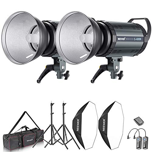 Neewer Kit de Lumière 800W Flash Strobe Photo Studio et Softbox: (2)400W Flash Monolight(S-400N), (2) Réflecteur de Montage de Bowen, (2) Support, (2) Softbox, (2) Lampe, (1) RT-16, (1) Sac