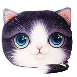 Flauschiger Geldbeutel (Geldbörse/Münzbörse) für junge Frauen & Mädchen/Damenportemonnaie mit süßem Katzenmotiv (Animal Print) inkl. Katzenohren und Schwänzchen (Reißverschluss) (Violett-Weiß)