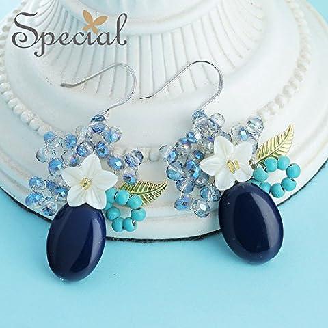 S 925 Silber Ohrhänger Ohrhaken Blume lady shell Achat Ohrringe, Das Gewicht liegt bei ca. 4,72 g/pro