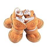 LvRao Schneestiefel für Haustier Vlies Futter Hund Schuhe Wildleder Antirutsch Sohlen Sport Schuhe Stiefel (Kaffee, 2XL (5.1*6.4cm))