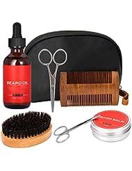 Bartpflege Set für Männer: Organic Bartöl 60ml & Bartcreme/Bartbalsam 60g + Bartbürste und Bartkamm Set für Männer + Bartschere + Nasenhaarschere - Bartpflegeset Männer, Geschenkset für Männer