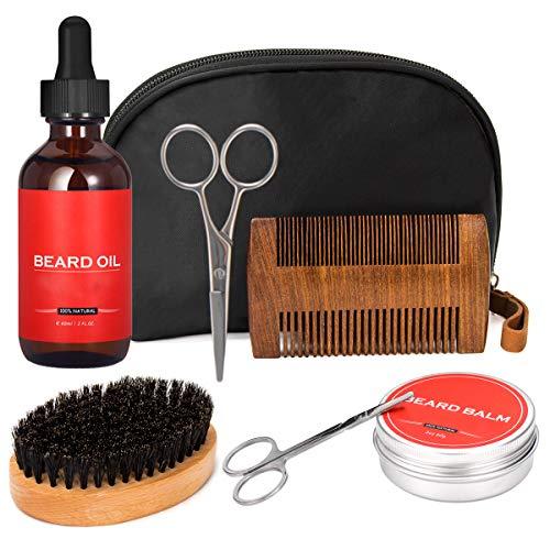 7tlg. Bartpflege Set für Männer: Organic Bartöl & Bartcreme/Bartbalsam usw.