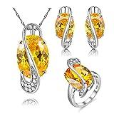 Uloveido Mädchen ist ziemlich gelb Oval Shaped Erstellt Citrin November Birthstone Halskette Ohrringe Ringe Jubiläum Promise Schmuck Set (Silber, 62) Y183