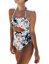 3184f50478e6c VENMO Women Plus Size One Piece Strappy Halter Bandeau Monokini Swimwear  Swimsuit Ladies Floral Sexy Cut Out High Waist Bathing Suit Swimming…