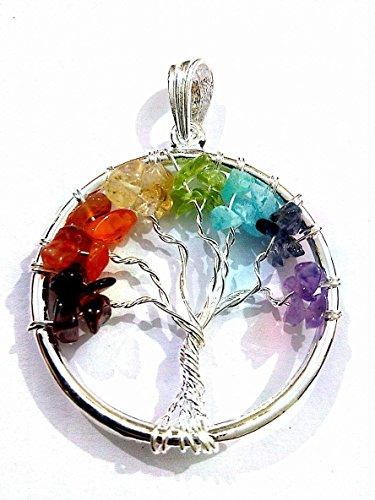 Kala Emporium : Tree of Life Chakra-Gemstone Chips Crystal Pendant