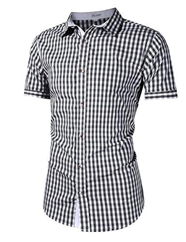 KoJooin Trachten Herren Hemd Trachtenhemd Langarmhemd Freizeithemd Baumwolle - für Oktoberfest, Business, Freizeit (XL, Schwarz1) - 2