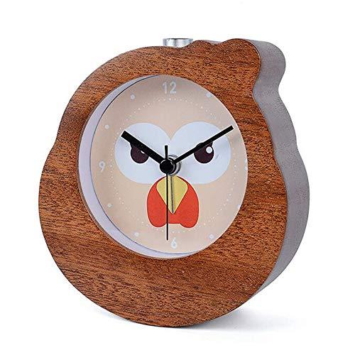 guyuell Reloj De Alarma Chino De Madera del Despertador De La Campana del Zodiaco del Gallo del Zodiaco Relojes De Mesa De Aguja De Madera De La Mesa De Madera