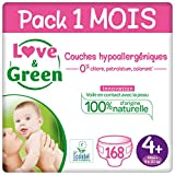 Love & Green Couches Taille 4+ (9-20 Kg) - Pack 1 Mois (168 Couches)