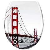 UISEBRT WC Sitz mit Absenkautomatik - WC Klodeckel Toilettensitz mit langsamer Absenkung - Verschiedene Muster zur Auswahl (Golden Gate Bridge)