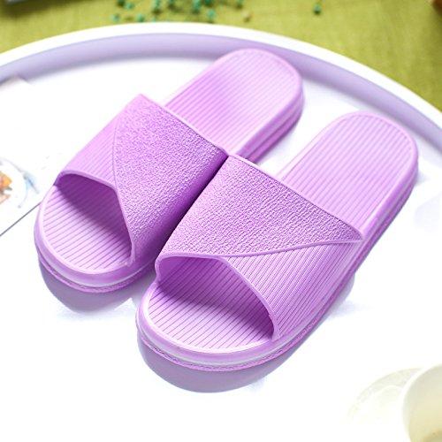DogHaccd pantofole,Pantofole estate femmina coppie bagno anti-slittamento home home bagno interno pavimento di plastica cool pantofole estate uomini di spessore Viola1