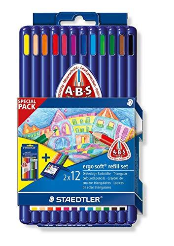 Staedtler ergo soft 157 SB12P2 Buntstifte, erhöhte Bruchfestigkeit, dreikant, Set mit 24 Stiften, rutschfeste Soft-Oberfläche, kindgerecht nach DIN EN71