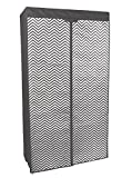Kleiderschrank PRO ART 4018 stahlgrau mit Zacken Design 160 x 88 x 45 cm Regalsystem Stoffschrank Faltschrank Garderobenschrank mit Kleiderstange für Kleidung, Spielzeug , Schuhe & Bücher