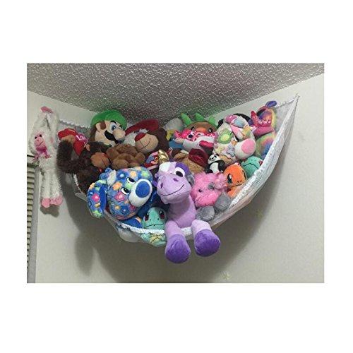 Huijukon Hängematte, Spielzeug-Hängematte, Netz-Organizer für Stofftiere, Plüschtiere, Teddies, 142 x 91 x 91 cm weiß (Netz-hängematte Für Spielzeug)