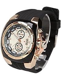 Rrimin Rubber Strap Quartz White Dial Golden Case Men Wrist Watch