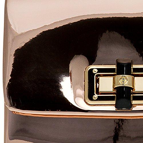 CASPAR TA387 stylisch kleine Damen Metallic Lack Mini Koffer Clutch Tasche / Abendtasche mit langer Kette roségold