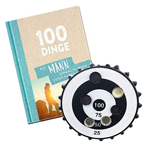 Monsterzeug 2er Geschenkset für Männer, Buch 100 Dinge die Mann getan haben muss, Kronkorken Dart Trinkspiel, magnetische Mini Dartscheibe