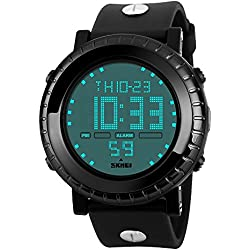 Amstt Unisex Sport Kids Watches Boys Girls Digital Waterproof Alarm Wristwatch for Age 7-15 Year Old Childrens(Black)